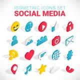 Sistema social isométrico de los iconos de los medios stock de ilustración