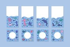 Sistema social subacuático del vector de las banderas de los medios stock de ilustración