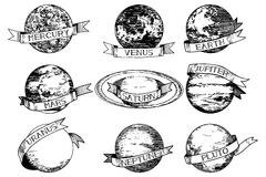 Sistema Solar antigua grabada al agua fuerte Foto de archivo libre de regalías