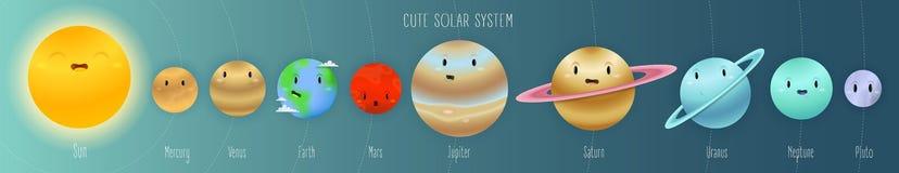 Sistema solar bonito no estilo dos desenhos animados do espaço com nomes e órbitas ilustração royalty free