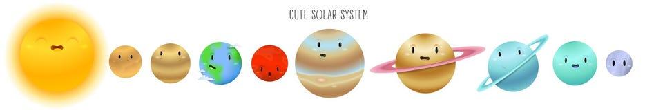 Sistema solar bonito no estilo dos desenhos animados isolado em um fundo branco ilustração stock