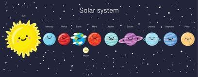 Sistema solar com os planetas de sorriso bonitos, o sol e a lua ilustração do vetor