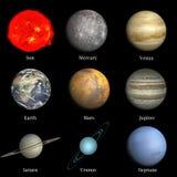 Sistema Solar en fondo negro imagen de archivo