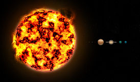Sistema solar a escalar Imagem de Stock