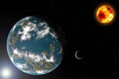 Sistema solar estrangeiro. Fotografia de Stock
