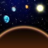 Sistema solar interno, vista de Marte ao sol Imagem de Stock