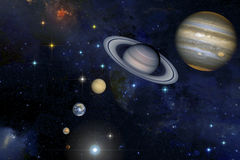 Sistema solar no fundo das estrelas Foto de Stock