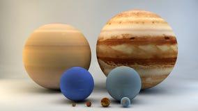 Sistema Solar, planetas, tamaños, dimensiones Imagen de archivo libre de regalías