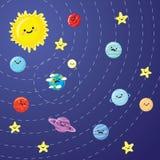 Sistema solare con i pianeti, il sole e la luna sorridenti svegli Immagini Stock Libere da Diritti