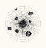 Sistema solare nello stile del dotwork pianeti in orbita annata illustrazione di stock