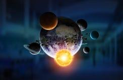 Sistema solare sul fondo dell'ufficio illustrazione di stock