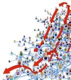 Sistema stratificato della folla del fumetto, movimento delle frecce Fotografia Stock Libera da Diritti