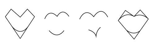 Sistema sucinto, abstracto de corazones blancos y negros aislados en el fondo blanco Vector libre illustration