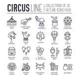 Sistema superior de la colección de los iconos del esquema del circo de la calidad Paquete linear del símbolo del festival Planti stock de ilustración