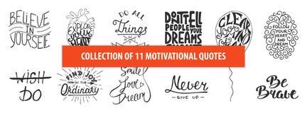 Sistema tarjetas de felicitación únicas dibujadas de la mano de motivación de la tipografía del vector e inspirada, decoración, p libre illustration
