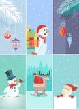 Sistema tarjetas de felicitación de la Navidad y del Año Nuevo ilustración del vector