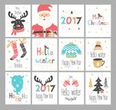 Sistema tarjetas de felicitaciones del Año Nuevo y de la Navidad Fotos de archivo