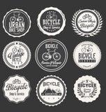 Sistema temático del diseño de la etiqueta de la bicicleta ilustración del vector