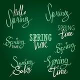 Sistema tipográfico del diseño de la primavera Fotos de archivo