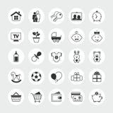 Sistema total del icono del vector de la familia y del hogar Fotografía de archivo libre de regalías