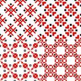Sistema tradicional de la decoración del ornamento geométrico eslavo de modelos stock de ilustración