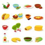Sistema tradicional del icono del menú de la comida mexicana Fotos de archivo libres de regalías