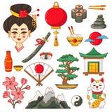 Sistema tradicional del vector de los símbolos nacionales de Japón imagenes de archivo