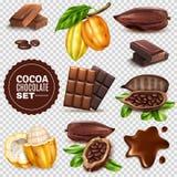 Sistema transparente del fondo del cacao realista ilustración del vector