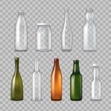 Sistema transparente realista de las botellas de cristal stock de ilustración