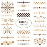 Sistema tribal del vector de Brown de elementos del diseño Sistema de cepillo fotografía de archivo libre de regalías