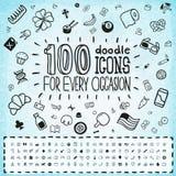 Sistema universal de 100 iconos del garabato Imagen de archivo libre de regalías