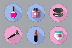 Sistema universal de los iconos de los accesorios de la belleza del vector para la web y el móvil stock de ilustración