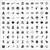 Sistema universal de los iconos del negocio 100 para el web y el plano móvil Imagen de archivo libre de regalías