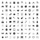 Sistema universal del Año Nuevo de los iconos de la Navidad 100 para el web y el móvil Fotos de archivo libres de regalías