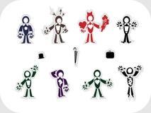Sistema vectorial de personajes originales de hombres stock de ilustración