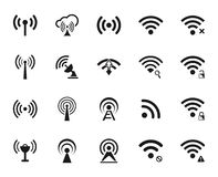 Sistema veinte de diverso vector negro Wi-Fi y de iconos inalámbricos Fotos de archivo