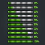 Sistema verde de la barra de progreso 10-100% Fotografía de archivo libre de regalías