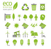 Sistema verde de la energía y del icono de la ecología Ilustración del vector Imágenes de archivo libres de regalías