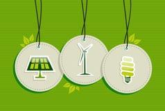 Sistema verde del icono de la energía de la etiqueta colgante. Imagen de archivo libre de regalías