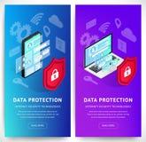 Sistema vertical de las banderas de Internet del smartphone isométrico de la seguridad stock de ilustración