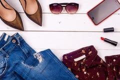 Sistema y accesorios de la ropa de las mujeres Fotografía de archivo libre de regalías