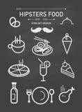 Sistema y elemento del icono de la comida de los inconformistas del vector ilustración del vector