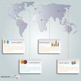 Sistema y mapa del mundo de Infographics vector/ejemplo Foto de archivo libre de regalías
