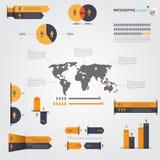 Sistema y mapa del mundo de Infographics vector/ejemplo Imagen de archivo libre de regalías