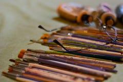Sistema y vidrios de cepillo de los pintores Imagenes de archivo