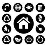 Sistemas caseros negros de los iconos Fotografía de archivo
