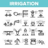 Sistemas de extin??o de inc?ndios, grupo linear dos ?cones do vetor da tecnologia da irriga??o ilustração do vetor