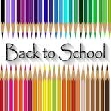 Sistemas de lápices coloreados por colores calientes y frescos Foto de archivo libre de regalías