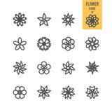 Sistemas de los iconos de la flor ilustración del vector