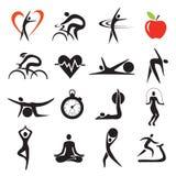 Sistemas de los iconos del deporte de la aptitud de la salud imagen de archivo libre de regalías